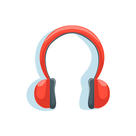 Wireless Red Headphones For Listening To Music While Running Illustration From The Fitness Essentials Collection. Illustration