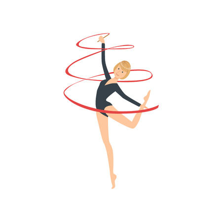 rehearsal: Professional Rhythmic Gymnastics Sportswoman In Black Long Sleeve Leotard Performing An Element With Ribbon Apparatus. Illustration