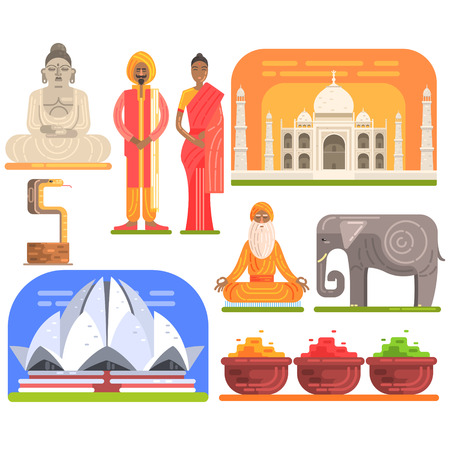 Famous Touristic Attractions To See In India. Traditional Tourism Symbols Of Indian Culture Including Clothing