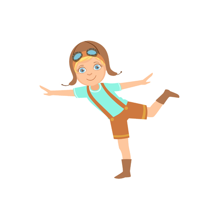 Little Boy In Vintage Pilot Leather Outfit Standing On One Leg Playing Piloting The Plane Game Imagining His Arms Are Wings. Young Kid Dreaming About Flying The Military Fighter Aircraft Illustration. Illustration