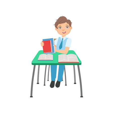 Schoolboy Sitting Behind The Desk In School Class Packing His Books Illustration