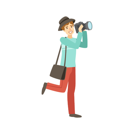simplified: Professional Photographer Taking Pictures With Photo Camera Illustration. Colorful Simplified Character Flat Drawing Isolated On White Background.