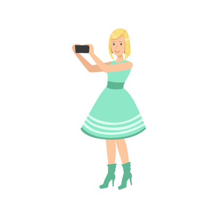 colorful dress: Girl In Blue Dress Taking Pictures With Photo Camera Illustration. Colorful Simplified Character Flat Drawing Isolated On White Background. Illustration
