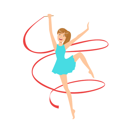 rehearsal: Professional Rhythmic Gymnastics Sportswoman In Blue Dress Performing An Element With Ribbon Apparatus. Female Competition Program Gymnast Performance Cartoon Illustration. Illustration
