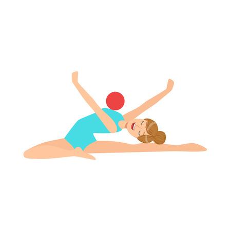 turnanzug: Professional Rhythmic Gymnastics Sportswoman In Blue Leotard Performing An Element With Ball Apparatus. Female Competition Program Gymnast Performance Cartoon Illustration.