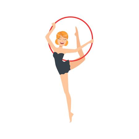 sportswoman: Professional Rhythmic Gymnastics Sportswoman In Black Dress Performing An Element With Hoop Apparatus. Female Competition Program Gymnast Performance Cartoon Illustration.