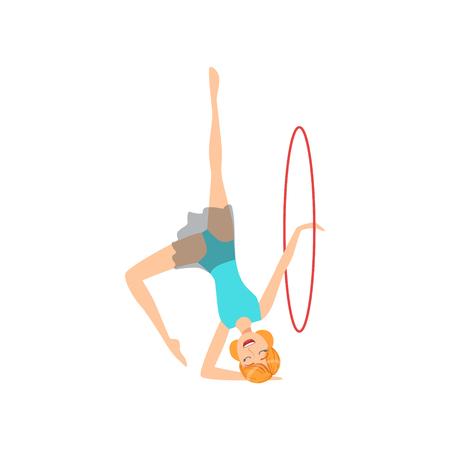 turnanzug: Professional Rhythmic Gymnastics Sportswoman In Blue Leotard Performing An Element With Hoop Apparatus. Female Competition Program Gymnast Performance Cartoon Illustration. Illustration