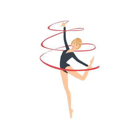 turnanzug: Professional Rhythmic Gymnastics Sportswoman In Black Long Sleeve Leotard Performing An Element With Ribbon Apparatus. Female Competition Program Gymnast Performance Cartoon Illustration. Illustration