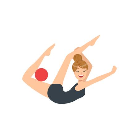 rehearsal: Professional Rhythmic Gymnastics Sportswoman In Black Leotard Performing An Element With Ball Apparatus. Female Competition Program Gymnast Performance Cartoon Illustration.