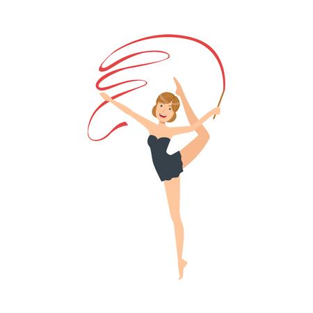 sportswoman: Professional Rhythmic Gymnastics Sportswoman In Black Dress Performing An Element With Ribbon Apparatus. Female Competition Program Gymnast Performance Cartoon Illustration. Illustration