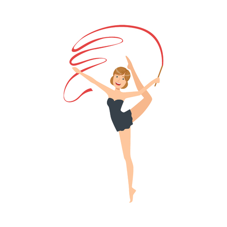 Professional Rhythmic Gymnastics Sportswoman In Black Dress Performing An Element With Ribbon Apparatus. Female Competition Program Gymnast Performance Cartoon Illustration. Illustration