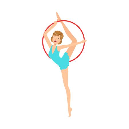 sportswoman: Professional Rhythmic Gymnastics Sportswoman In Blue Dress Performing An Element With Hoop Apparatus. Female Competition Program Gymnast Performance Cartoon Illustration. Illustration