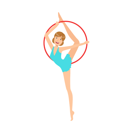 Professional Rhythmic Gymnastics Sportswoman In Blue Dress Performing An Element With Hoop Apparatus. Female Competition Program Gymnast Performance Cartoon Illustration. Illustration