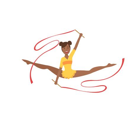 turnanzug: Black Professional Rhythmic Gymnastics Sportswoman In Yellow Leotard Performing An Element With Two Ribbons Apparatus. Female Competition Program Gymnast Performance Cartoon Illustration.