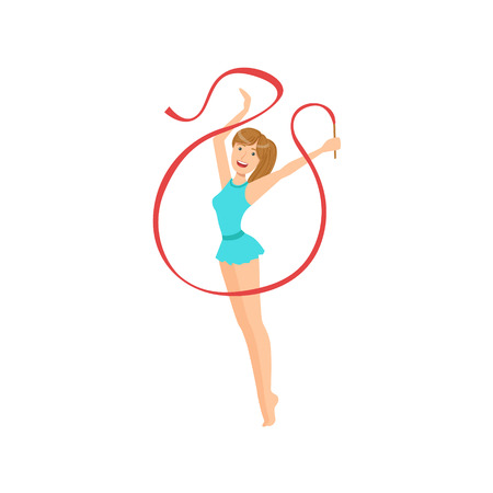 sportswoman: Professional Rhythmic Gymnastics Sportswoman With Ponytail Performing An Element With Ribbon Apparatus. Female Competition Program Gymnast Performance Cartoon Illustration. Illustration