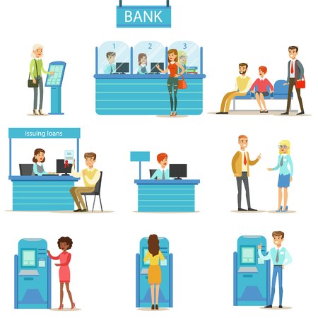 illustrati: Bank Service Professionals And Clients Different Financial Affairs Consultancy, ATM Cash Manipulation And Other Business Set Of Illustrations. Smiling People In Bank Interiors Managing Their Finances With Professional Help From Office Employees Illustrati