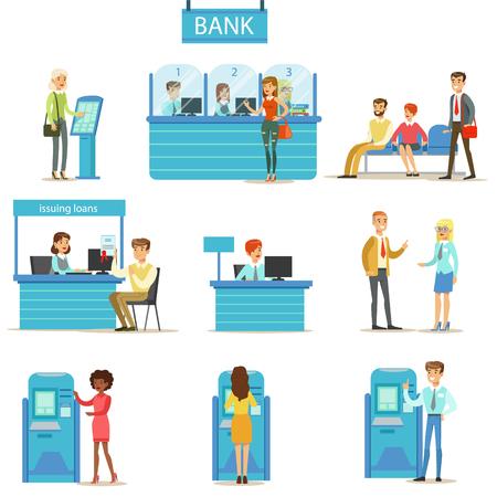 Los profesionales del servicio de banco y los clientes Diferentes Asuntos Financieros de consultoría, la manipulación Cajero y otros negocios conjunto de ilustraciones. La gente sonriente en el banco Interiores manejo de sus finanzas con la ayuda profesional de los empleados de oficina Illustrati
