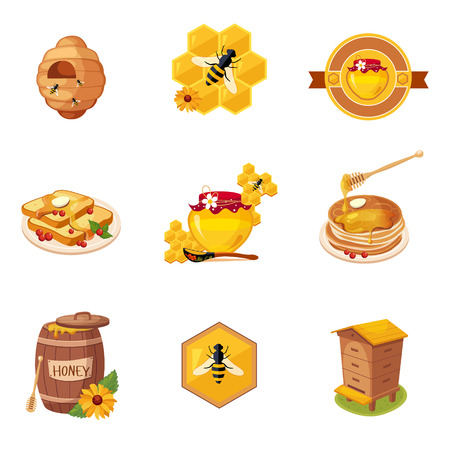 Honey And Related Food And Label Set Of Illustrations. Cute Colorful Honey Related Stickers Isolated On White Background. Illustration