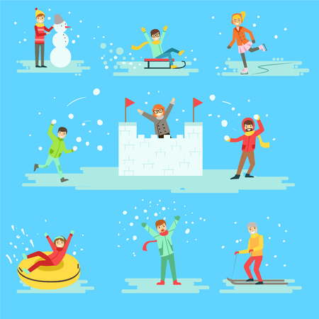 outdoor activities: People Having Fun In Snow In Winter Set Of Illustrations. Minimalistic Cartoon Drawings Of Different Winter Outdoor Activities On Blue Background. Illustration