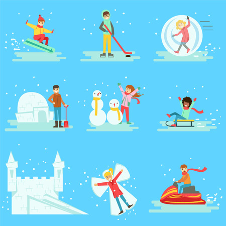 winter fun: People Having Fun In Snow In Winter Collection Of Illustrations. Minimalistic Cartoon Drawings Of Different Winter Outdoor Activities On Blue Background.