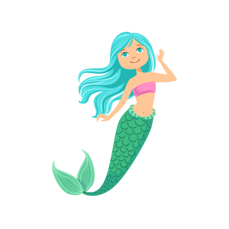 strapless: Blue Hair Mermaid In Purple Swimsuit Top Bra Fairy-Tale Fantastic Creature Illustration. Cute Fantasy Siren With Green Fish Tail And Long Hair Cartoon Vector Character Swimming Underwater. Illustration