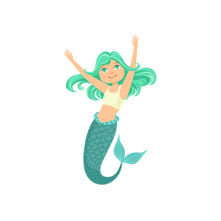 fantastic creature: Turquoise Hair Mermaid In White Sportive Swimsuit Top Bra Fairy-Tale Fantastic Creature Illustration. Cute Fantasy Siren With Green Fish Tail And Long Hair Cartoon Vector Character Swimming Underwater.