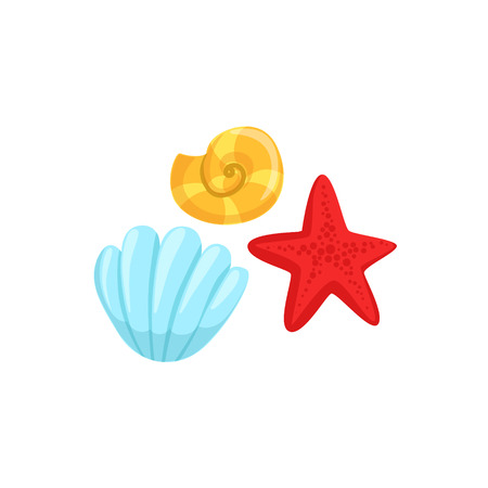 clam illustration: Three Different Underwater Organisms Set, Red Starfish, Yellow Shell And Blue Clam. Colorful Cartoon Sea Nature Vector Illustration On White Background. Illustration