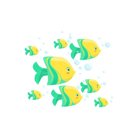 school of fish: Green And Yellow Fantastic Tropical Fish School Set Of Marine Animals. Colorful Cartoon Sea Nature Vector Illustration On White Background. Illustration