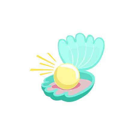 clam illustration: Blue Wide Open Clam With Fantastic Large White Pearl Inside. Colorful Cartoon Sea Nature Vector Illustration On White Background. Illustration