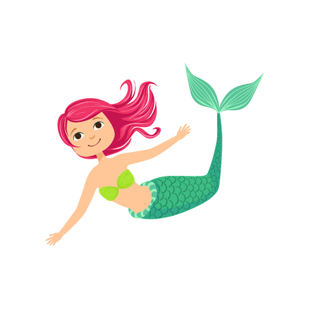 fantastic creature: Pink Hair Mermaid In Green Swimsuit Top Bra Fairy-Tale Fantastic Creature Illustration. Cute Fantasy Siren With Green Fish Tail And Long Hair Cartoon Vector Character Swimming Underwater. Illustration