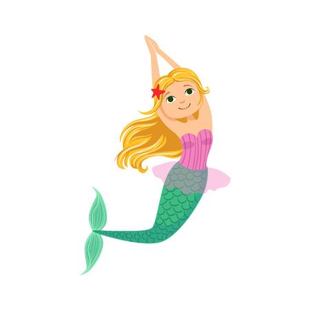 green hair: Blond Mermaid In Purple Swimsuit Top Bra With Starfish In Hair Fairy-Tale Fantastic Creature Illustration. Cute Fantasy Siren With Green Fish Tail And Long Hair Cartoon Vector Character Swimming Underwater.