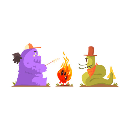 Two Monsters Warming Up And Frying Marshmallows Next To Alive Fire Creature, Alien Camping And Hiking Cartoon Illustration. Fantastic Animal On A Hike Outdoors In The Wilderness Vector Cute Character.