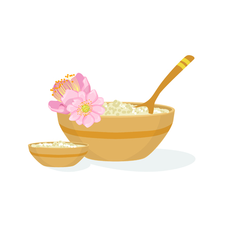 procedures: Bowl With Handmade Natural Cosmetic Product For Skincare Element Of Spa Center Health And Beauty Procedures Collection Of Illustrations. Realistic Vector Objects Symbols Of Beautifying Treatments On White Background. Illustration