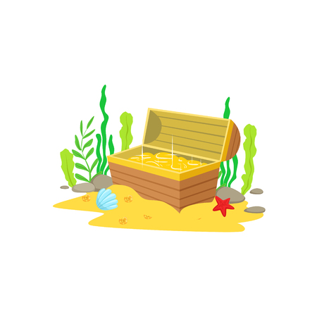 Open Chest With Golden Treasure Inside Laying At The Sandy Sea Floor Surrounded By Algae And Underwater Marine Animals. Wooden Pirate Coffer Fuul With Gold Coins Cartoon Vector Illustration. Illustration
