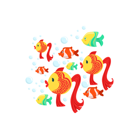school of fish: Schoold Of Fantastic Tropical Fishes: Goldfishes, Yellow And Stripy Red Coral Fishes. Colorful Cartoon Sea Nature Vector Illustration On White Background. Illustration