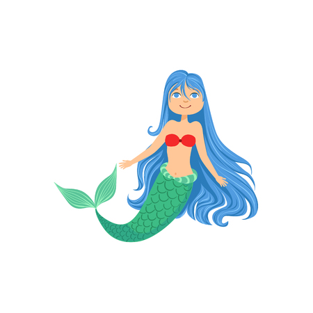 fantastic creature: Blue Hair Mermaid In Red Swimsuit Top Bra Fairy-Tale Fantastic Creature Illustration. Cute Fantasy Siren With Green Fish Tail And Long Hair Cartoon Vector Character Swimming Underwater. Illustration