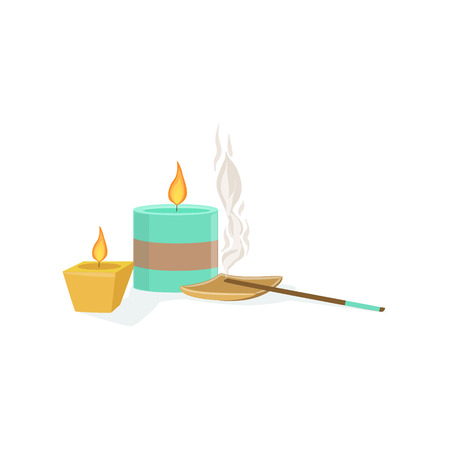 meditaion: Set Of Meditaion Oriental Decorations With Scented Candles And Smoking Sticks Element Of Spa Center Health And Beauty Procedures Collection Of Illustrations. Realistic Vector Objects Symbols Of Beautifying Treatments On White Background.