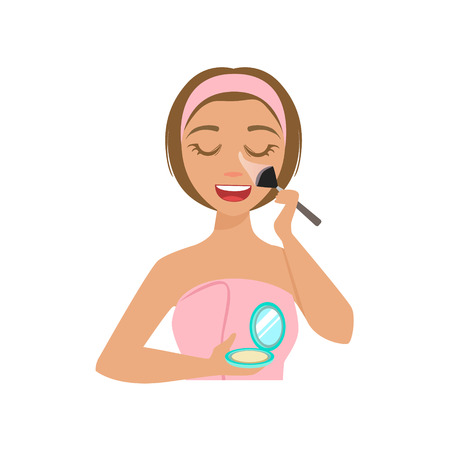 preening: Girl Applying Base Powder Make Up With Cosmetic Brush, Woman With Closed Eyes Doing Home Spa Procedure Illustration. Portrait Of Young Female Person Performing Beatifying Routine Herself In The Bathroom After Shower. Illustration