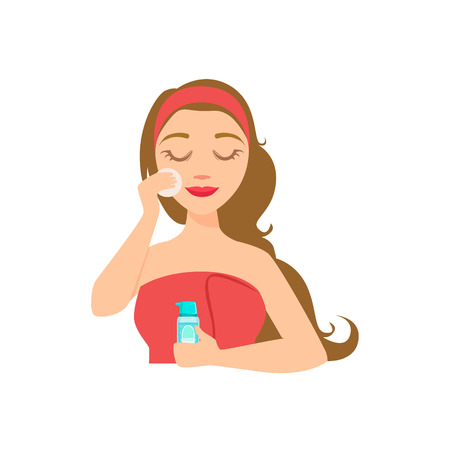 preening: Girl Removing Make Up With Skincare Product And Cotton Round, Woman With Closed Eyes Doing Home Spa Procedure Illustration. Portrait Of Young Female Person Performing Beatifying Routine Herself In The Bathroom After Shower.