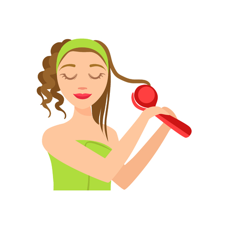curler: Girl Curling The Hair WIth Electric Curler, Woman With Closed Eyes Doing Home Spa Procedure Illustration. Portrait Of Young Female Person Performing Beatifying Routine Herself In The Bathroom After Shower.