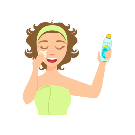 preening: Girl Applying Sun Protecting Facial Lotion, Woman With Closed Eyes Doing Home Spa Procedure Illustration. Portrait Of Young Female Person Performing Beatifying Routine Herself In The Bathroom After Shower.