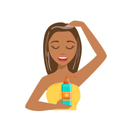 preening: Girl Applying Hair Mask Product, Woman With Closed Eyes Doing Home Spa Procedure Illustration. Portrait Of Young Female Person Performing Beatifying Routine Herself In The Bathroom After Shower. Illustration