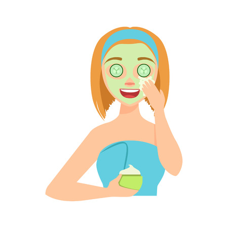 Girl Applying Natural Cucumber Cream Facial Mask, Woman With Closed Eyes Doing Home Spa Procedure Illustration. Portrait Of Young Female Person Performing Beatifying Routine Herself In The Bathroom After Shower.