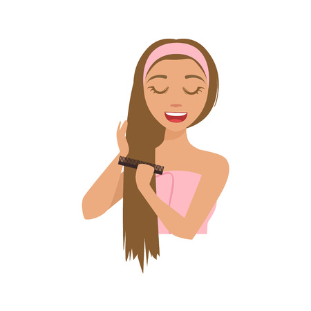 Girl Combing Long Hair With A Comb After Shower, Woman With Closed Eyes Doing Home Spa Procedure Illustration. Portrait Of Young Female Person Performing Beatifying Routine Herself In The Bathroom After Shower.