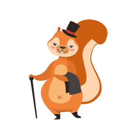 Red Squirrel In Gentleman Outfit Humanized Cartoon Cute Forest Animal Character Childish Illustration. Flat Vector Drawing With Woodland Fauna Animal In Funny Situation.