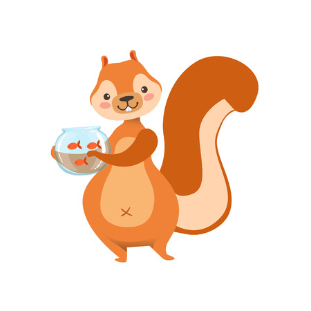 gold fish: Red Squirrel Holding Aquarium With Pet Gold Fish Humanized Cartoon Cute Forest Animal Character Childish Illustration. Flat Vector Drawing With Woodland Fauna Animal In Funny Situation.