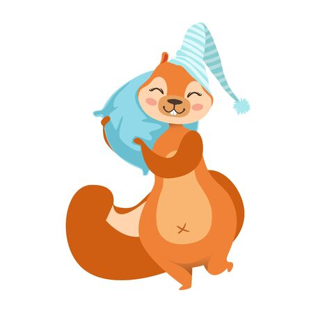 siesta: Red Squirrel With A Pillow Going To Sleep Humanized Cartoon Cute Forest Animal Character Childish Illustrations. Flat Vector Drawing With Woodland Fauna Animal In Funny Situation. Illustration