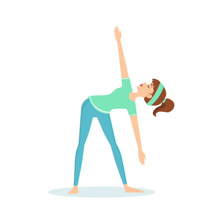 Triangle Trikonasana Yoga Pose Demonstrated By The Girl Cartoon Yogi With Ponytail In Blue Sportive Clothing Vector Illustration. Part Of Collection Of Yoga Asana Postures Drawing With Young Woman In Training Outfit