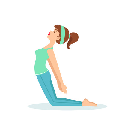 ponytail: Camel Ustrasana Yoga Pose Demonstrated By The Girl Cartoon Yogi With Ponytail In Blue Sportive Clothing Vector Illustration. Part Of Collection Of Yoga Asana Postures Drawing With Young Woman In Training Outfit Illustration