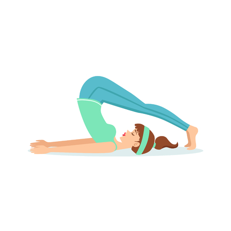 Plow Halasana Yoga Pose Demonstrated By The Girl Cartoon Yogi With Ponytail In Blue Sportive Clothing Vector Illustration. Part Of Collection Of Yoga Asana Postures Drawing With Young Woman In Training Outfit